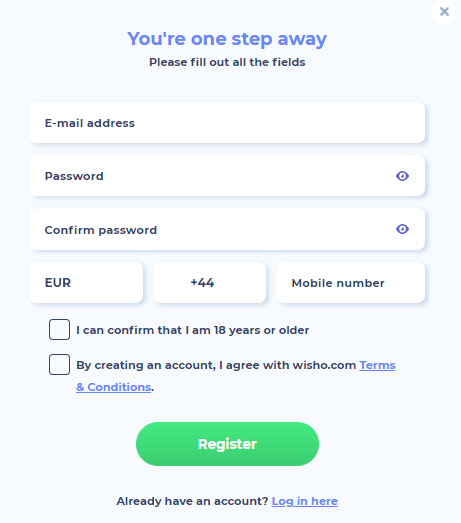 Registro no Wisho